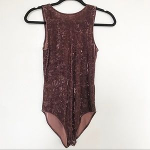 American Eagle Crushed Velvet Bodysuit Size Small